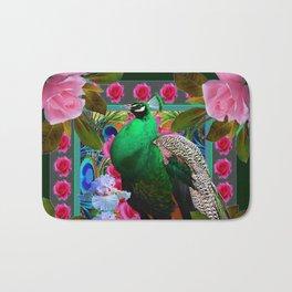 PINK ROSES & GREEN PEACOCK GARDEN FLORAL ART Bath Mat