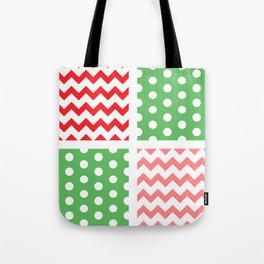 Two-Tone Red/Green/White Chevron/Polkadot Tote Bag