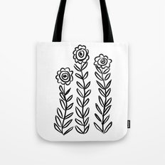 Flower Party in Black Tote Bag