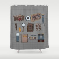 kit king Shower Curtains featuring Explorers kit by Laura Barnes