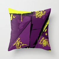 evil Throw Pillows featuring EVIL by clogtwo