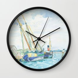 Marine Scene (Boats near Venice) by Henri-Edmond Cross1903, French Wall Clock