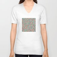 polka dot V-neck T-shirts featuring Christmas Polka Dot Rain by Alisa Galitsyna