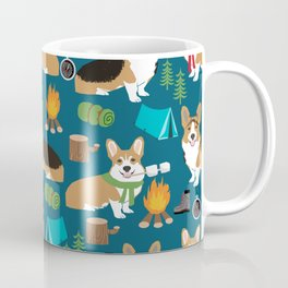 Corgi camping marshmallow roasting corgis outdoors nature dog lovers Coffee Mug