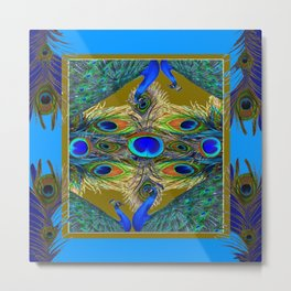 BLUE-PURPLE PEACOCK FEATHER PATTERNS Metal Print