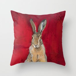 Cottontail Rabbit On Red Throw Pillow