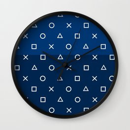 Playstation Controller Pattern - Navy Blue Wall Clock
