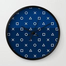 Gamepad Symbols Pattern - Navy Blue Wall Clock