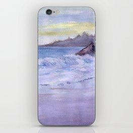 Wet Sand, Beach, Sunset, sea, mountains, waves, original, watercolor, blue, white, violet, yellow, w iPhone Skin