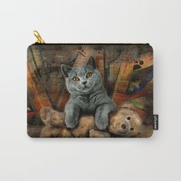 Cat Diesel with teddybear ! Carry-All Pouch