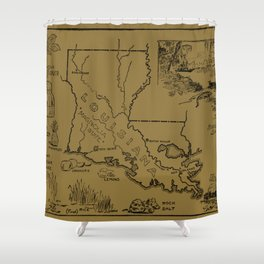 Vintage Agricultural Map of Louisiana (1912) - Tan Shower Curtain