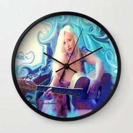 semi nude goddess with guitar ladykashmir Wall Clock