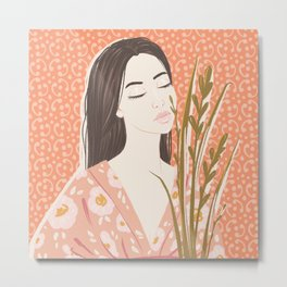 The girl in kimono Metal Print