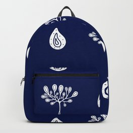 hand-drawn dark blue pattern with floral elements Backpack