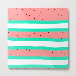Summer bright coral mint watermelon stripe pattern Metal Print
