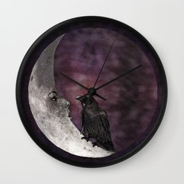 The crow and its moon. Wall Clock
