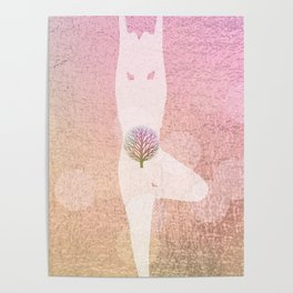 Tree Pose Silhouette | Rose Gold Foil Poster
