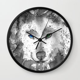 black and white : wolf Wall Clock