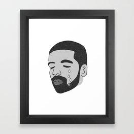 drake crying (b&w) Framed Art Print