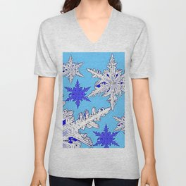 BEAUTIFUL BLUE & WHITE SNOW CRYSTALS  DESIGN Unisex V-Neck