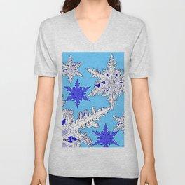 BEAUTIFUL BLUE & WHITE SNOW CRYSTALS  DESIGN Unisex V-Neck