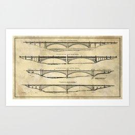 Washington Bridge Proposal Blueprint Plans Art Print