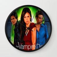 vampire diaries Wall Clocks featuring The Vampire Diaries by Don Kuing