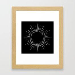 Sunburst Moonlight Silver on Black Framed Art Print