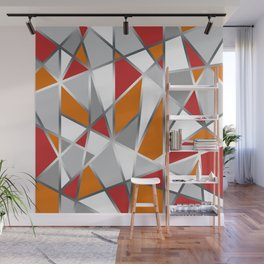 Geometric Shapes in Red, Orange and Gray Wall Mural