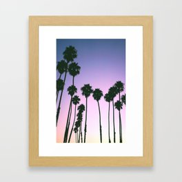 Palm Tree Purple Sunset Framed Art Print