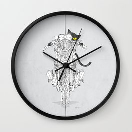 Cat Chicken Motorcycle Art Print Wall Clock