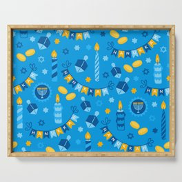 Happy Hanukkah Banner Pattern Serving Tray