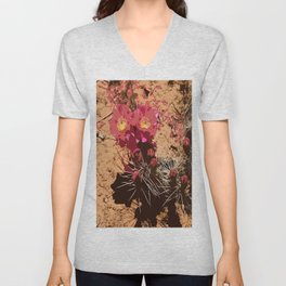Red Cacti Abstract Unisex V-Neck