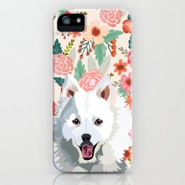 Japanese Spitz floral pet portrait wall art and gifts for dog breed lovers iPhone Case