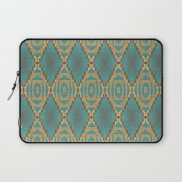 Teal Turquoise Caramel Coffee Brown Rustic Native American Indian Cabin Mosaic Pattern Laptop Sleeve