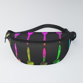 fork and spoon pattern in pink blue yellow with black background Fanny Pack