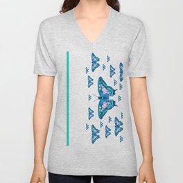 CONTEMPORARY LAGOON BLUE BUTTERFLIES MODERN ART Unisex V-Neck