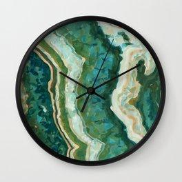 Blue Green Onyx Marble Abstract Vector Art Wall Clock