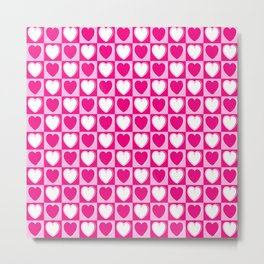 Pink hearts pattern Metal Print