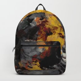 Yellow / Golden Abstract / Surrealist Landscape Painting Backpack