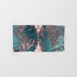 Antique World Map Pink Quartz Teal Blue by Nature Magick Hand & Bath Towel