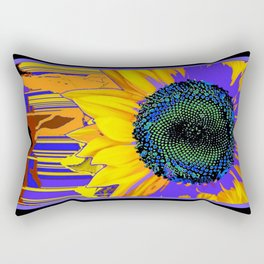 Surreal Sunflower Eye in Purple-green-black Abstracted Designs Rectangular Pillow