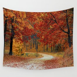 Red Autumn Wall Tapestry