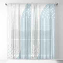 Two Tone Line Curvature XV - Sky Blue Sheer Curtain