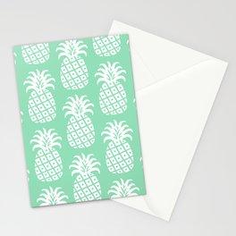 Retro Mid Century Modern Pineapple Pattern Mint Green 2 Stationery Cards