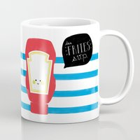 french fries Mugs featuring French Fries by Marcela Chermont
