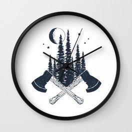 Axes. Double Exposure Wall Clock