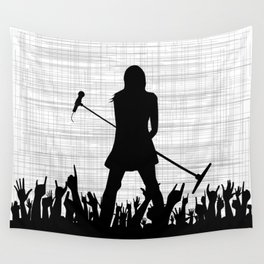 Girl With Microphone Wall Tapestry