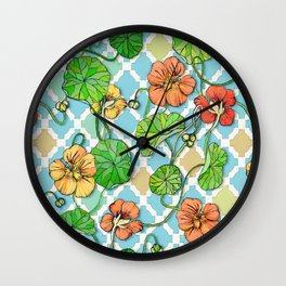 Climbing Nasturtiums on Blue and White Wall Clock