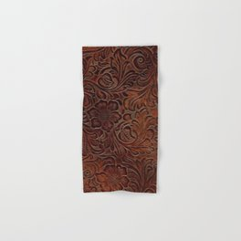 Burnished Rich Brown Tooled Leather Hand & Bath Towel